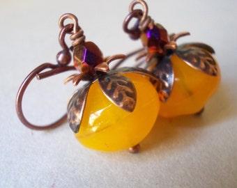 Flower earrings Little Sweet Pumpkin handmade jewelry glass bead brass petal floral Rose Bud tangerine yellow orange pomegranate Persephone