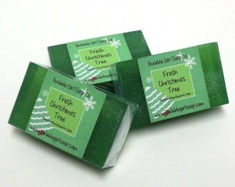 Fresh Christmas Tree Mini GUEST BAR Detergent Free Frasier Fir Handmade Vegan Glycerin Soap