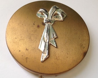 Vintage Rex Fifth Avenue Goldtone Compact with Mirror, Puff, and Powder
