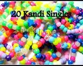 Kandi Singles, Kandy Bracelet Lot, Neon Rainbow Rave Plur Jewelry, 20 Beaded Bracelets