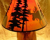 Rustic Hand Crafted Log Table Lamp with Custom Lampshade
