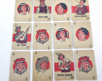 Miniature Vintage Slap Jack Playing Cards for Children Set of 12