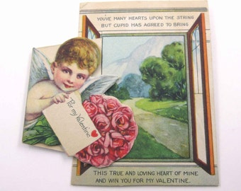 Vintage Valentine Greeting Card with Cupid Pink Roses Letter and Window with Scenery