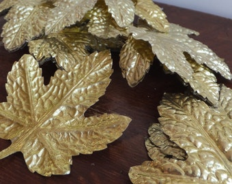 Vintage Gold Leaves Floral Picks Millinery Golden Leaf Trim Holiday Trim Christmas Trim