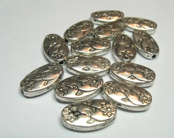 Large 14mm Flat Oval Silver Pewter Botanical Beads - Qty 14
