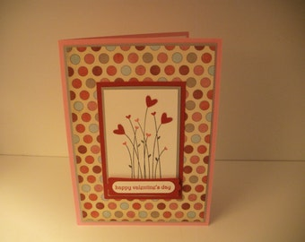 Heart Flowers Happy Valentine's Day handmade greeting card
