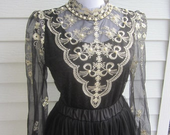 Black Lace Blouse, black lace shirt, Victorian high neck blouse, Victorian costume, boho shirt