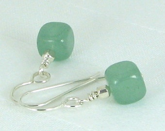 Green Aventurine Cubes and Sterling Silver Earrings