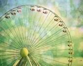 Ferris Wheel Bokeh Photo Blue Green Lights Baby Gift Wildwood Photo Nursery Babies Decor Amusement Park Fine Art New Jersey Print