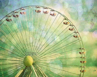 Ferris Wheel, Wildwood Wheel, Bokeh Photo, Blue And Green, Art Print, New Jersey Photo, Nursery Decor, Amusement Park, Fine Art Photo