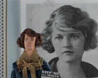 Zelda Fitzgerald Doll Miniature Wife of F. Scott Fitzgerald Roaring Twenties Art