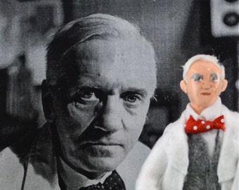 Alexander Fleming Biologist Scientific Art Doll Miniature by Uneek Doll Designs