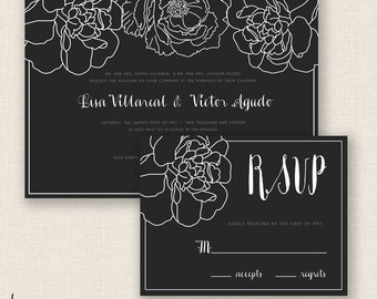 ELEGANT FLORAL - DIY Printable Wedding Set - Invitation and Reply Card