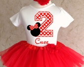 Red Polka Dots Minnie Mouse first 1st 2nd 3rd 4th 5th 6th 7th Birthday Personalized Custom Name Age Shirt & Tutu Set Girl Outfit