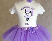 Purple Lavender Minnie Mouse First 1st 2nd 3rd 4th 5th 6th 7th Birthday Personalized Custom Name Age Shirt & Tutu Set Girl Outfit