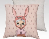 Pillow Case -  Bunny girl - home decor - velveteen - 22 x 22 inches - 18x18 inches - pink