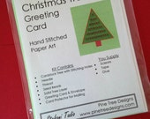 Christmas Card Kit, Hand Stitched Paper Embroidery