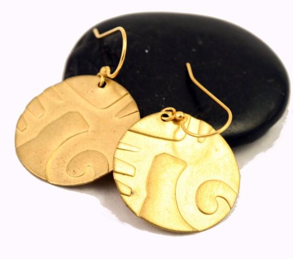 Gold Circle Earrings - Tribal Aztec Pattern, Disc Earrings, Gold Brass Circle Earrings, Circle Dangle Earrings