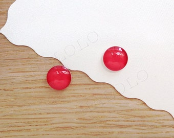 Sale - 10 pcs handmade red color glass cabochons 12mm (12-91239)