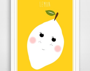 Children's Wall Art / Nursery Decor Yellow Lemon  print by Finny and Zook