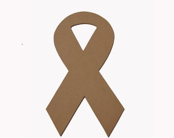 Awareness Ribbon Unfinished Mdf Wood Plaque
