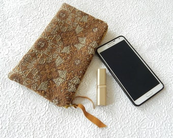 Upholstery pouch, brown aqua  purse, zipper pouch, lined clutch, fashion accessory, womens accessory