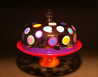colorful glass polka dot cake plate stand with cover