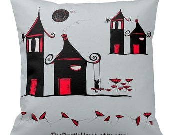 Poppytown toss pillow 16x16 black grey red cats owls poppies made to order