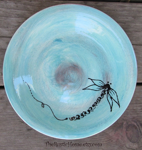 Dragonfly 8 inch dessert plates choose your colors cake toast snack wedding tableware dinnerware small plate rustic home