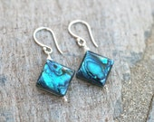 SALE Teal Blue Abalone Shell Sterling Silver Handmade Earrings, Paua Shell, Teal Blue Earrings, Square Geometric Earrings