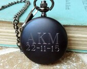 Personalized Men's Pocket Watch, Modern Black Pocket Watch, Fathers Day Gift, Groomsmen Gifts, Best Man or Wedding Party Gifts