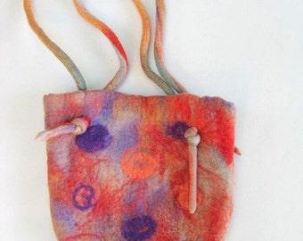 Hand Felted Purse Handbag - Orange And Purple
