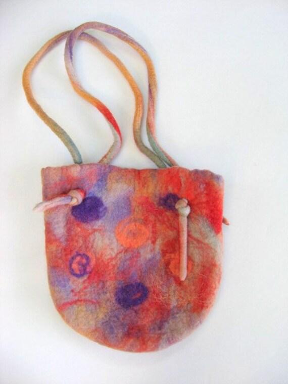 SHOP CLOSING SALE - Hand Felted Purse Handbag - Orange And Purple
