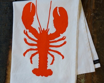 Tea Towel - Hand Printed Orange Lobster