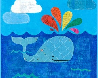 Whale Collage Art Print // Nautical Home Decor