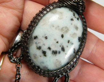 Large woven wire wrapped natural Sesame Jasper, pendant