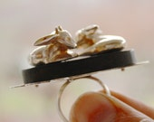 Oh My Deer sculptural ring in ebony and sterling - One of a kind - Special Pricing