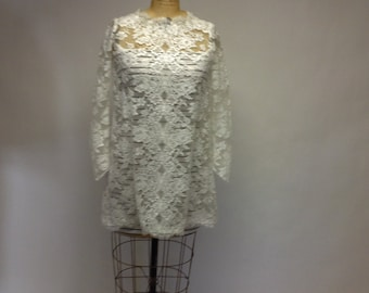 OOAK Deconstructed Tattered Lace mini tunic dress with liner