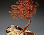 Windswept  Copper wire tree sculpture -2103  - FREE SHIPPING