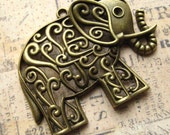 """Large Elephant Pendants, Charms - Set of 2 - 60mm x 50mm (2 5/8"""" x 2"""") Antique Bronze Finish Charms (BC0011)"""