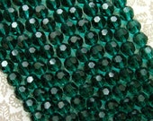 Teal Green Faceted Glass Round Beads 8mm - 50 Beads - Green Crystal Beads (CBD0093)