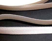White Twill Tape, White Cotton Twill Tape Ribbon 1/2 inch wide x 5 yards