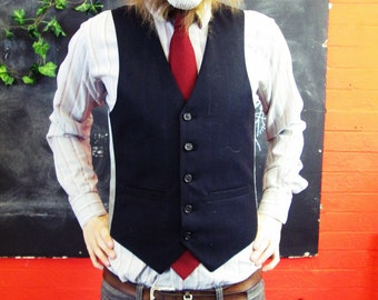 Vintage 1970s Traditional Navy Pinstripe Waistcoat w/ Matching Buttons Medium/Large