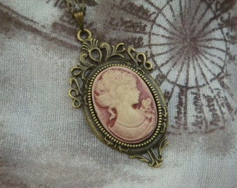 Rose Lady Portrait Cameo Necklace