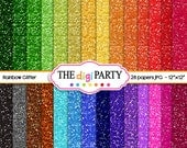 Rainbow Glitter Paper texture digital paper scrapbook sparkle instant download background commercial use