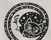 T Shirt Black  Cat Kitty Moon Stars Animal Screen Printed Cosmic Teen/ Womans Clothing
