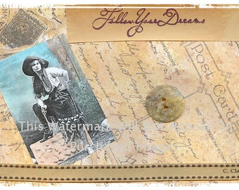 Vintage Cowgirl Follow Your Dreams Instant Digital Download  Western Art Picture Scrapbooking Store Tags T-Shirt Transfer Business Cards