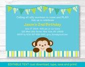 Cute Monkey Birthday Invi...