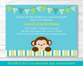 Cute Monkey Birthday Invitation / Monkey Birthday Invite / Mod Monkey Birthday Invite / Blue & Yellow / INSTANT DOWNLOAD Editable PDF