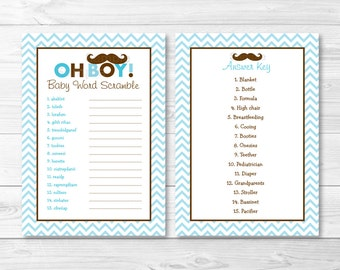 Mustache Oh Boy Baby Word Scramble / Baby Shower Game / INSTANT DOWNLOAD A264
